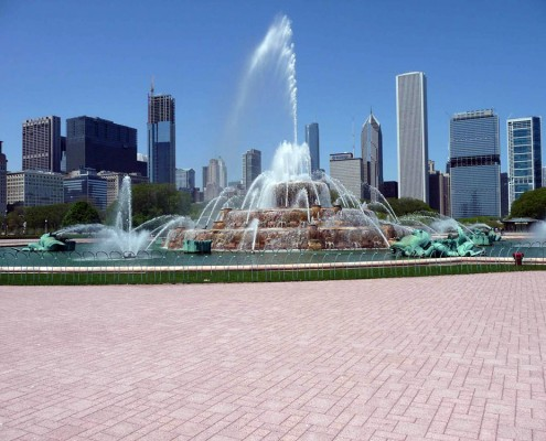 Sunset Pink Permeable Paver Grit- Buckingham Fountain - Chicago, IL
