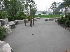 Salt & Pepper Granite Stabilized Pathway - Brooklyn Bridge Park - Brooklyn, NY - Project by Michael Van Valkenburgh Associates