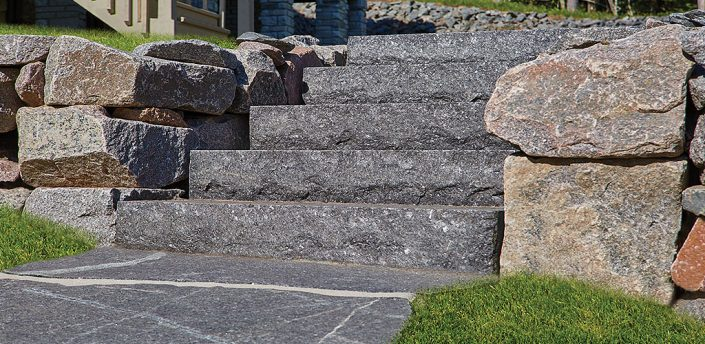 Starlight Black Granite Thermal Flagstone and Thermal-Top Steps.